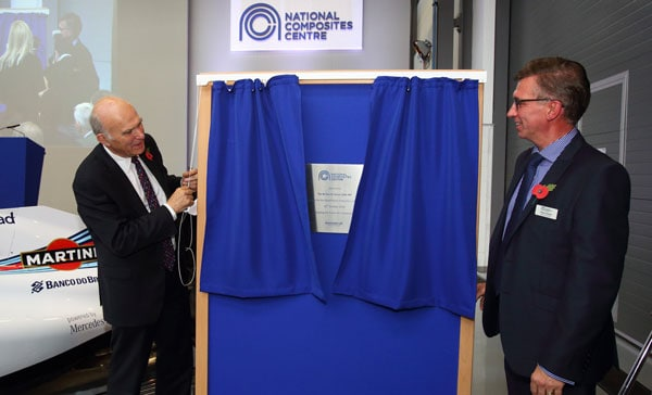 Secretary of State Vince Cable opens the new extension to engineering facility the National Composites Centre, in Bristol and Bath Science Park