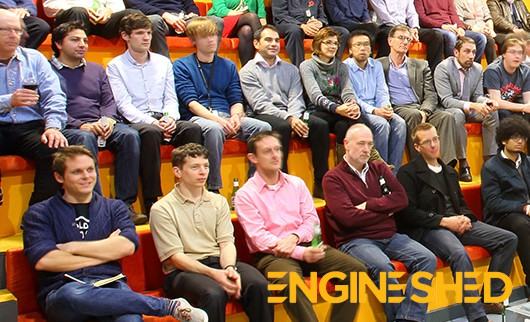 A group of entrepreneurs and businesspeople at a meeting in Bristol's Engine Shed