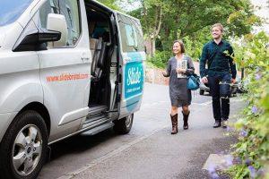 Bristol residents catching a Slide minivan