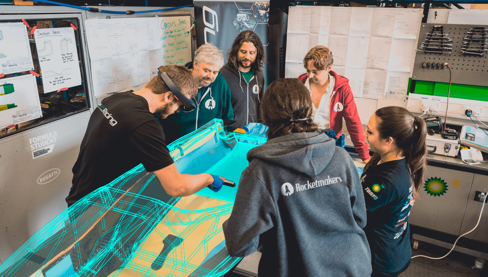 Team Bath Racing use Rocketmakers-designed AR tool for world-first car production technology