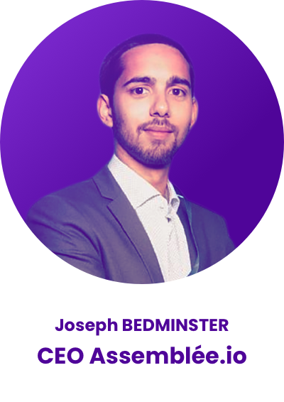 Headshot of Joseph Bedminster CEO at Assemblee.io in a purple circle